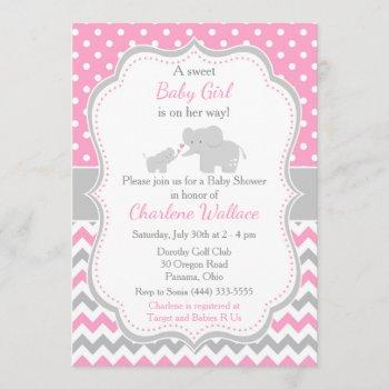 Elephant Pink And Gray Baby Shower Invitation
