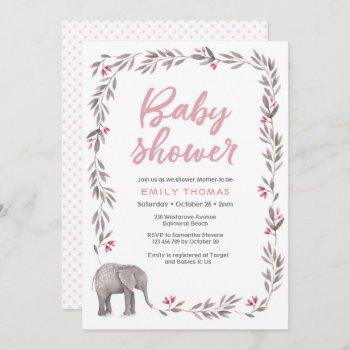 Elephant Pink And Grey Baby Shower Invitation