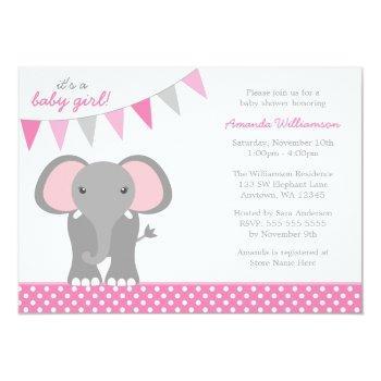 Elephant Pink Polka Dot Banner Girl Baby Shower Invitation