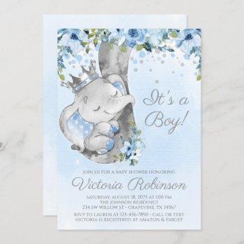 Elephant Prince Boy Baby Shower Invitation