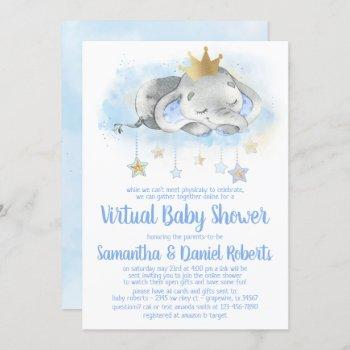 Elephant Prince Virtual Baby Shower Invitation