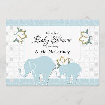 Elephant Safari Floral Blue & Grey Boy Baby Shower Invitation