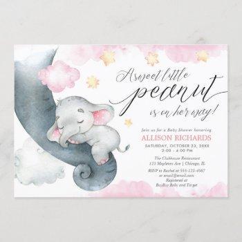 Elephant Sweet Little Peanut Cute Girl Baby Shower