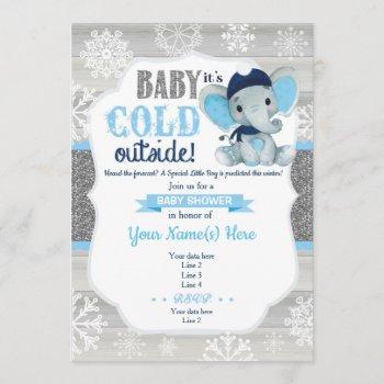 Elephant Winter Invitation For Boy Baby Shower