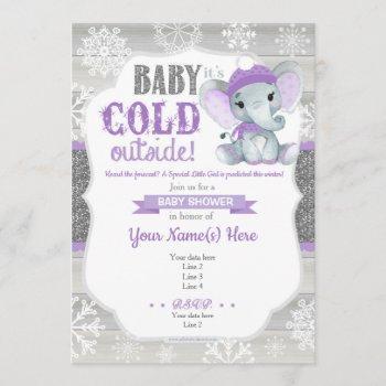 Elephant Winter  For Girl Shower Purple