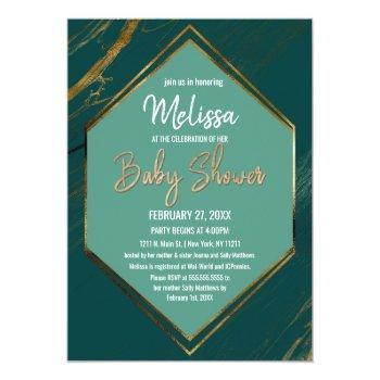 Emerald Green Gold Geometric Marble Baby Shower Invitation