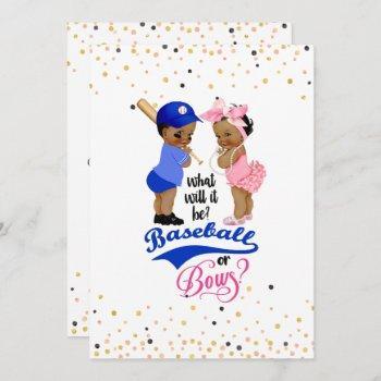 Ethnic Babies Baseball Or Bows Gender Reveal Invitation