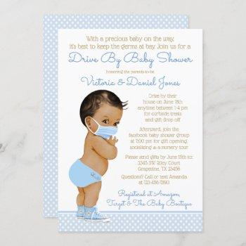Ethnic Baby Boy With Mask Drive By Baby Shower Invitation