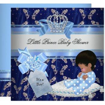 Ethnic Baby Shower Boy Blue Little Prince Crown Invitation