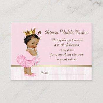 Ethnic Ballerina Princess Diaper Raffle Ticket Enclosure Card
