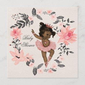Ethnic Ballerina Watercolor Wreath Baby Shower Invitation