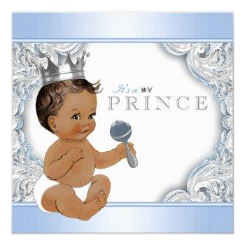 Ethnic Boy Baby Blue Silver Prince Baby Shower Invitation