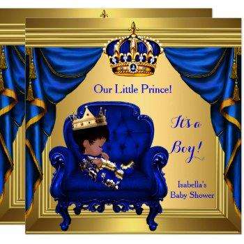 Ethnic Boy Baby Shower Prince Royal Blue Gold Invitation