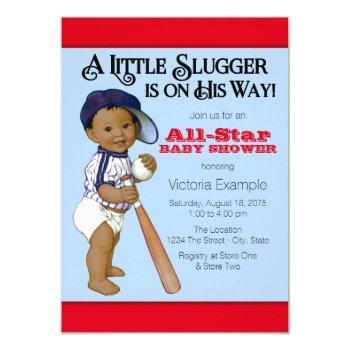 Ethnic Boy Baseball Baby Shower Invitations