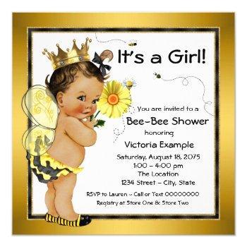 Ethnic Girl Bee Baby Shower Invitation