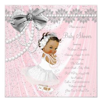 Ethnic Girl Pink Gray Satin Pearl Baby Shower Invitation