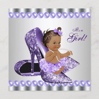 Ethnic Girl Purple Gray High Heel Shoe Baby Shower