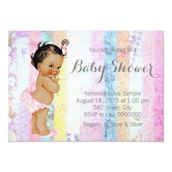 Ethnic Girl Rainbow Baby Shower Invitation