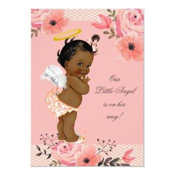 Ethnic Little Angel Watercolor Flowers Baby Shower Invitation