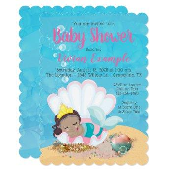 Ethnic Little Mermaid Baby Shower Invitations