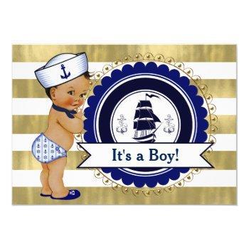 Ethnic Little Sailor Boy Nautical Baby Shower Invitation