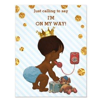 Ethnic Prince On Phone Stripes Dots Baby Shower Invitation