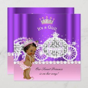 Ethnic Princess Baby Shower Carriage Pink Purple Invitation