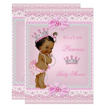 Ethnic Princess Baby Shower Girl Pink Pearls Tiara Invitation