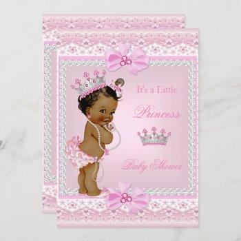 Ethnic Princess Baby Shower Girl Pink Pearls Tiara Invitation