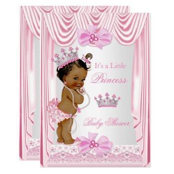 Ethnic Princess Baby Shower Girl Pink Silk Invitation