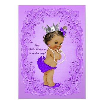 Ethnic Princess Baby Shower Ornate Purple Frame Invitation
