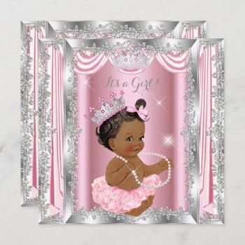 Ethnic Princess Baby Shower Pink Silver Ballerina Invitation