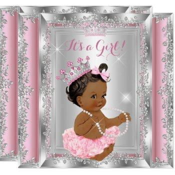 Ethnic Princess Baby Shower Pink Silver Tutu Invitation