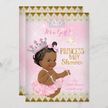 Ethnic Princess Baby Shower Pink Tutu Gold Invitation