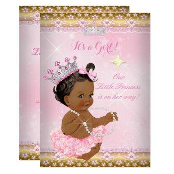 Ethnic Princess Baby Shower Pink Tutu Gold Tiara A Invitation