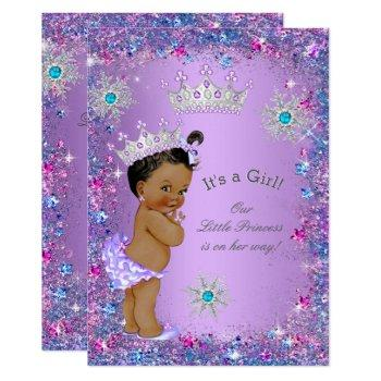 Ethnic Princess Baby Shower Purple Teal Blue Pink Invitation