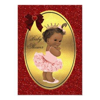 Ethnic Princess Ballerina Fake Gold Foil Glitter Invitation