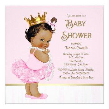 Ethnic Princess Ballerina Pink Gold Baby Shower Invitation