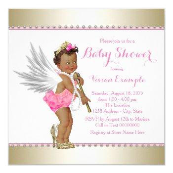 Ethnic Princess Pearl Pink Gold Angel Baby Shower Invitation