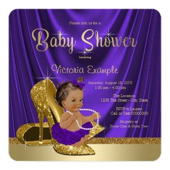 Ethnic Purple Ballerina Gold Shoe Baby Shower Invitation