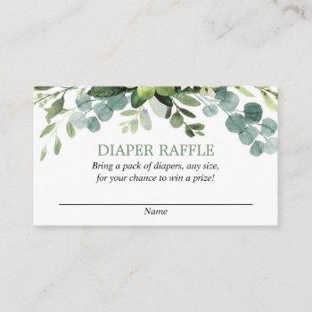 Eucalyptus Baby Shower Diaper Raffle Cards