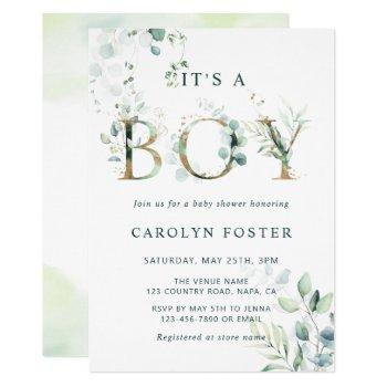 Eucalyptus Botanical Letter Gold Boy Baby Shower Invitation