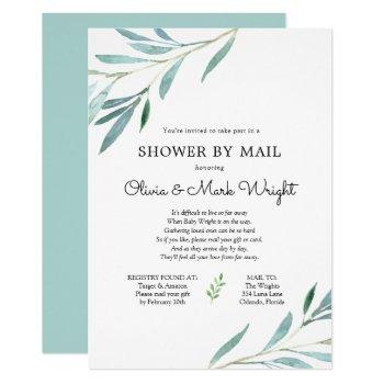 Eucalyptus Branches Baby Shower By Mail Invitation