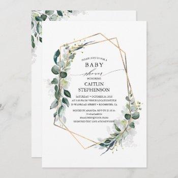 Eucalyptus Greenery Geometric Modern Baby Shower Invitation