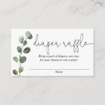 Eucalyptus Simple Black White Diaper Raffle Cards