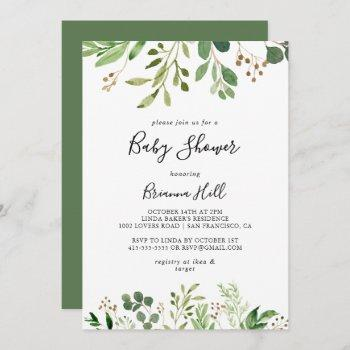 Eucalyptus Simple Brown Floral Baby Shower
