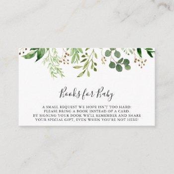 Eucalyptus Simple Floral Baby Shower Book Request Enclosure Card