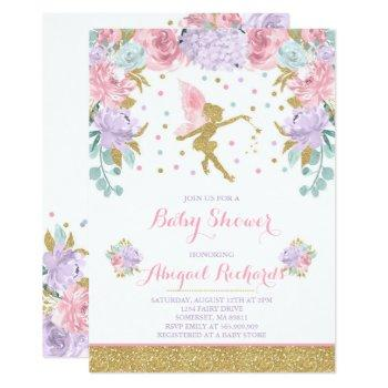 Fairy Baby Shower Invitation Floral Fairy Shower