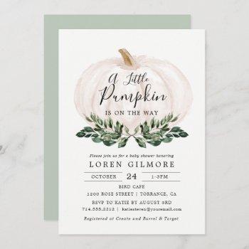 Fall Greenery White Pumpkin Baby Shower