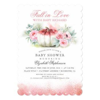 Fall In Love Rose Gold Glitter Pumpkin Baby Shower Invitation